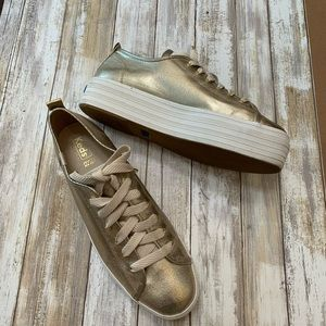 "Keds Gold Chunky 1 3/4"" Platform Shoes 11"